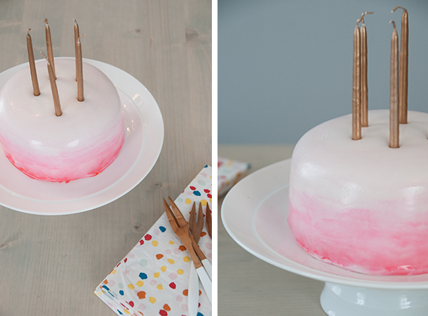 watercolor ombre cake diptych