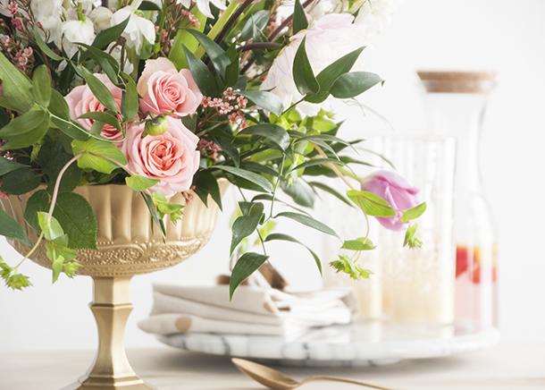 floral arrangement in a low shallow bowl
