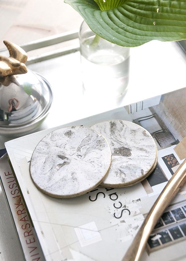diy faux marble coasters
