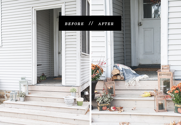fall porch before and after