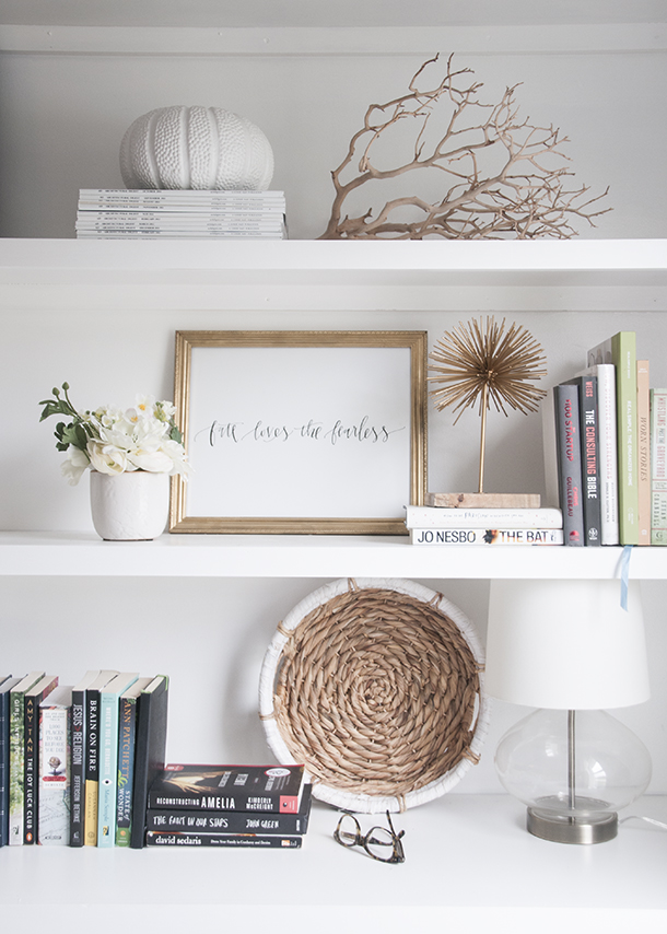styling a pretty bookshelf without a lot of books