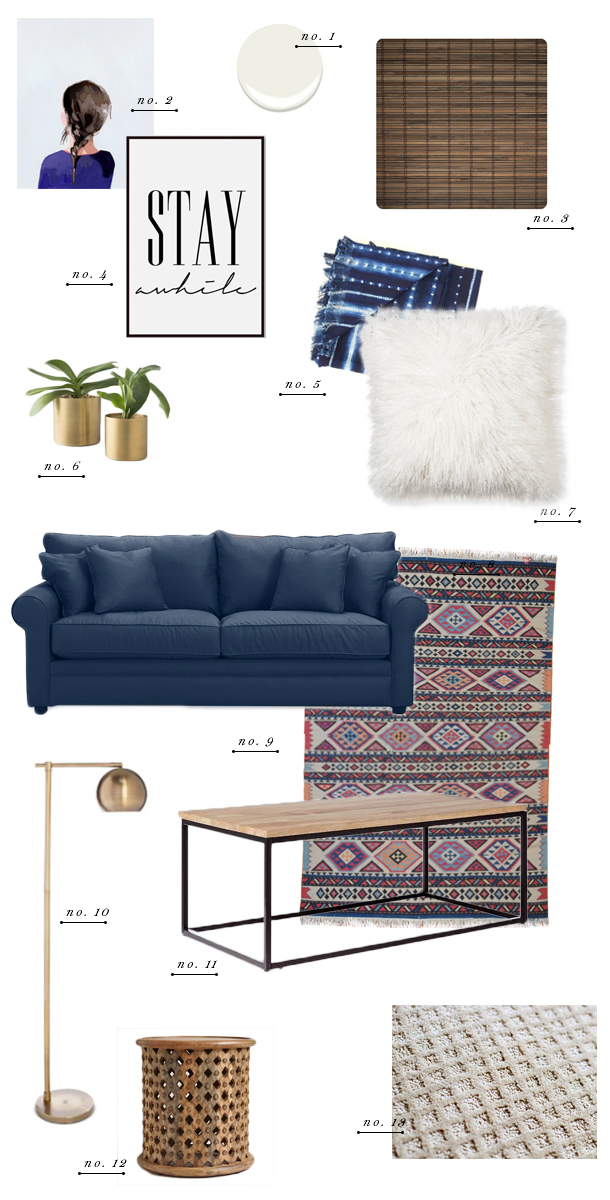 living room collage blue couch