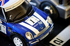blue and white toy car