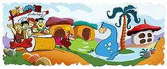 flintstones cartoon family driving down road