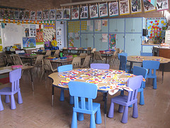 kindergarten classroom with tables, chairs, educational materials