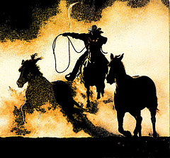 cowboy trying to rope two horses