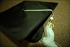 graduation cap sitting on table
