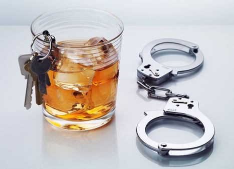 alcoholic drink with handcuffs and car keys