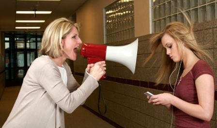 mom yelling at daughter on megaphone