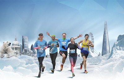 Human race London winter run central creative with five runners running through a wintery landscape with london landscape. Earnie creative design