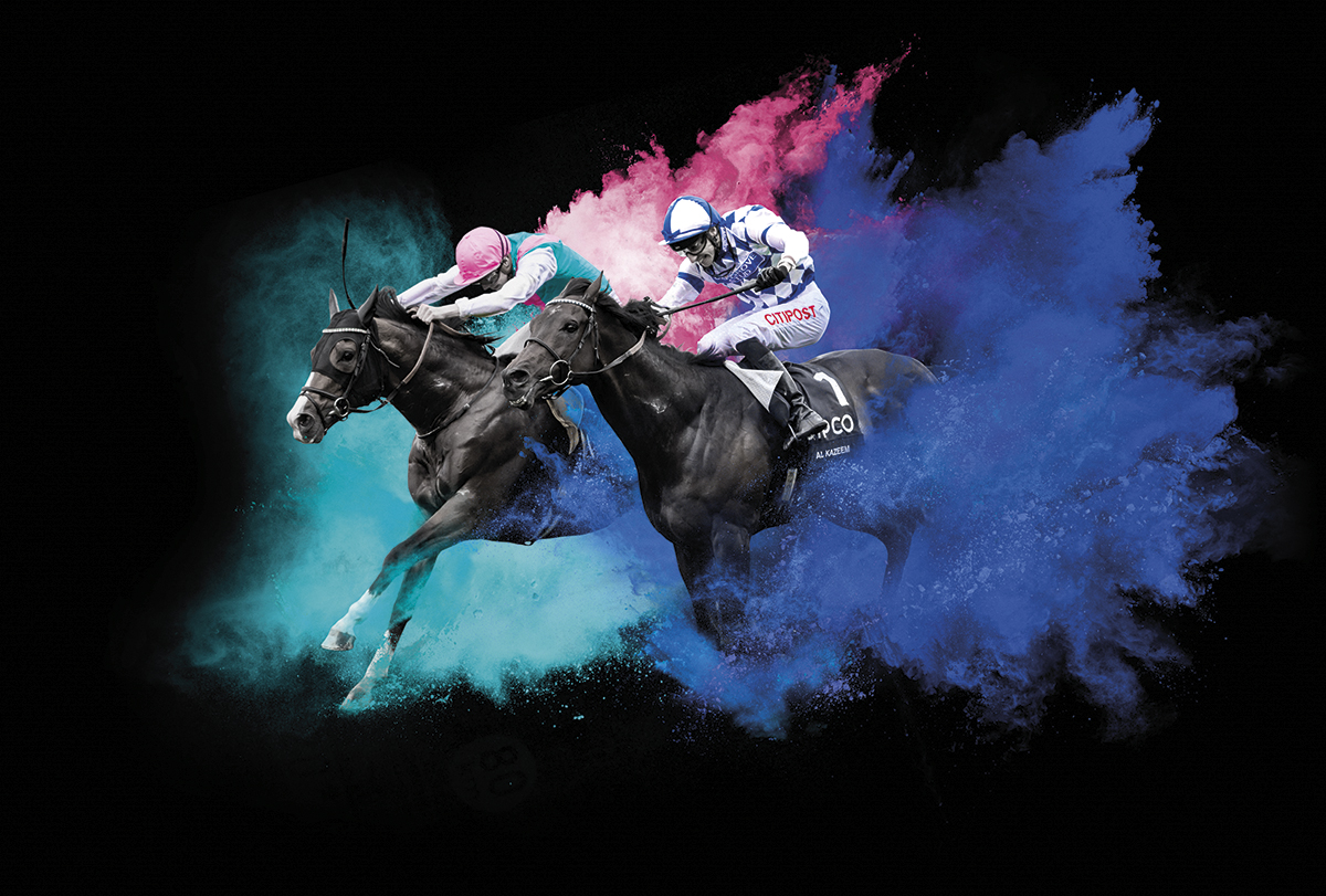 British Champions Day creative with two jockey and horses with the paint burst effect. Earnie creative design