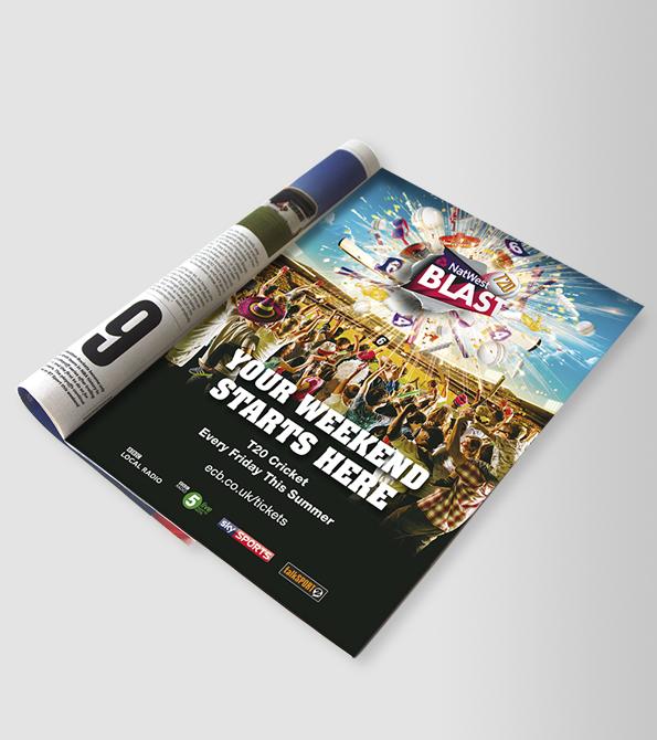 Natwest ECB 2016 T20 Blast central creative ad in magazine. Earnie creative design