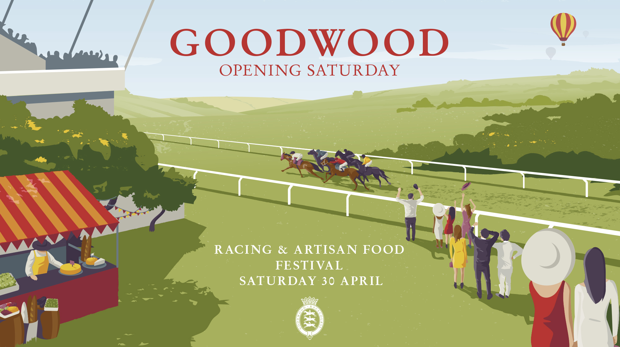 Goodwood opening Saturday advertisement using illustration. Earnie creative design