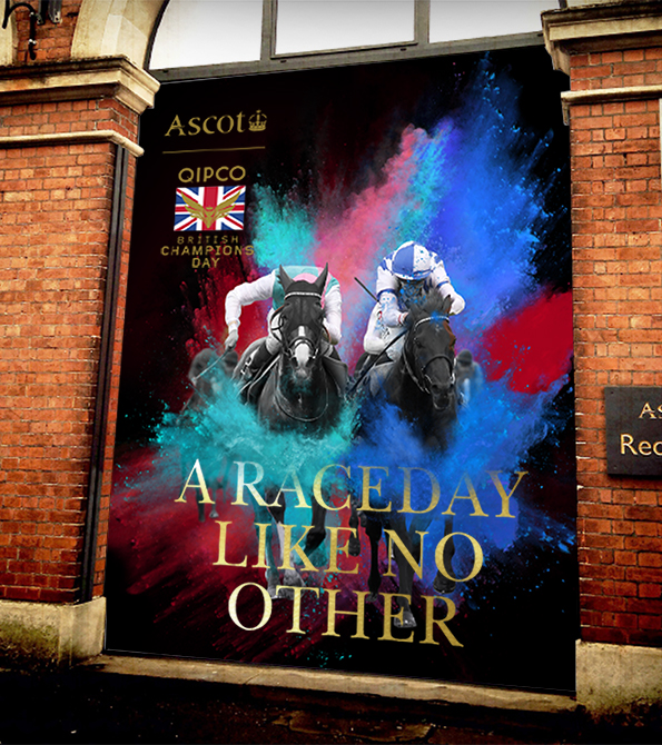 "British Champions Day creative of two horses and jockeys and paint burst effect with the line ""A Raceday Like No Other"". Earnie creative design"