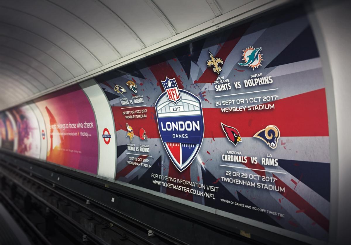 London Underground 48 sheet advert with NFL London Games creative design. Earnie creative design