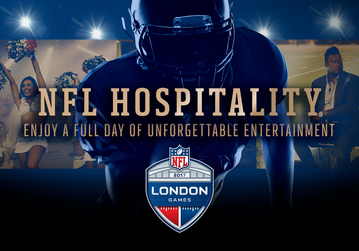 Ad for NFL London Games Hospitality with an NFL player with cheerleaders and a pundit in the background. Earnie creative design