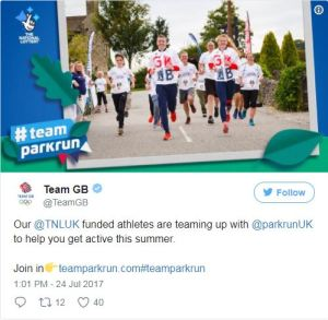 Team parkrun used in Team GB's Twitter feed. Earnie creative design