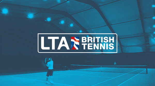 Man hitting tennis ball with blue wash over image and LTA logo. Earnie creative design