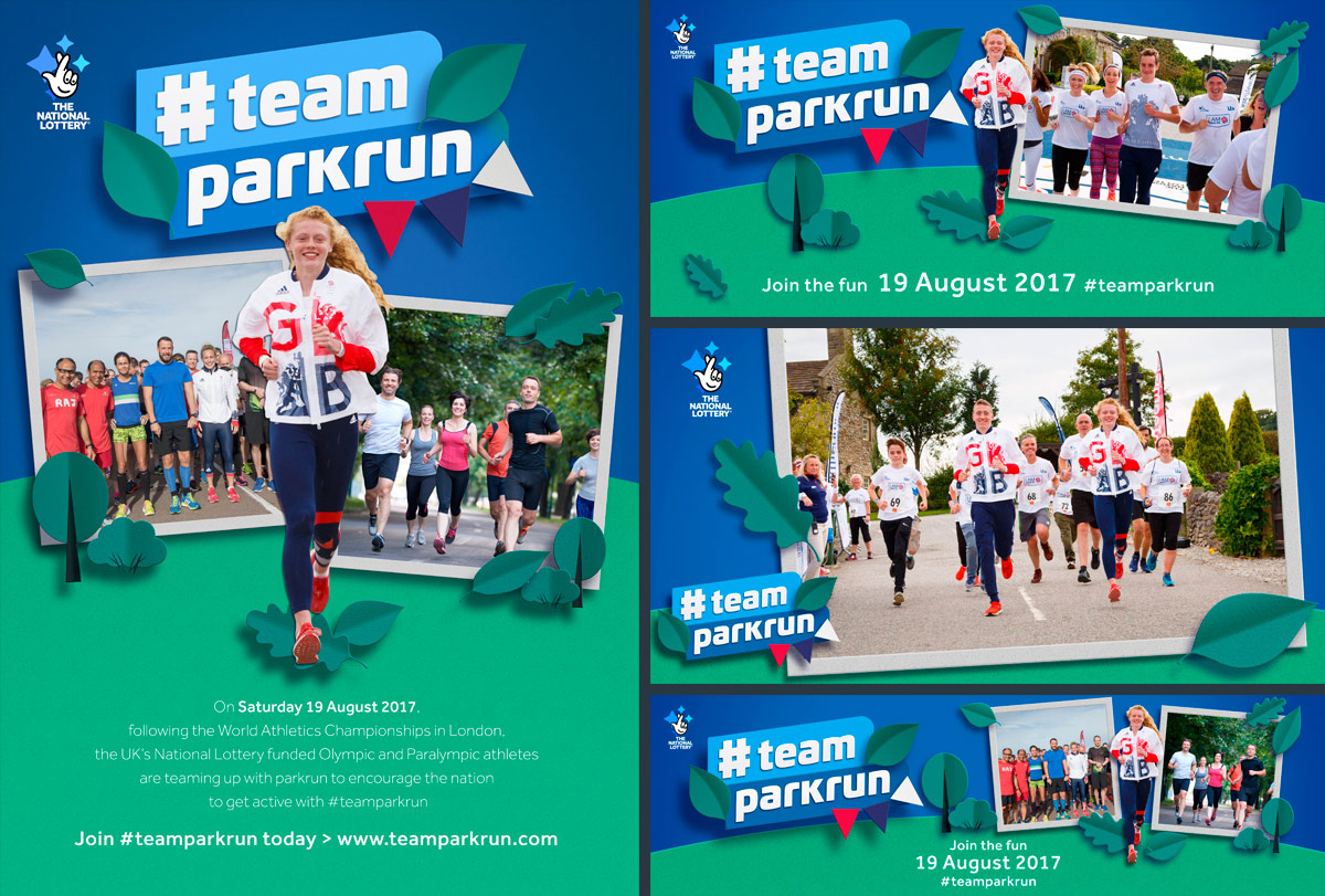 A number of iterations of the team parkrun creative. Earnie creative design
