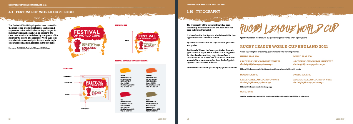 Rugby League World Cup guidelines festival of world cup and typography pages. Earnie creative design
