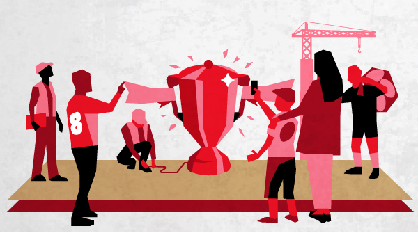 Illustration of men and women looking at the Rugby League World Cup Trophy. Earnie creative design