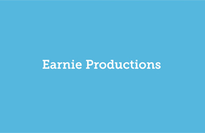 A blue picture with Earnie Productions written in the middle. Earnie