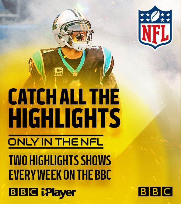 BBC Tune In, Catch all the highlights creative featuring Cam Newton. Earnie creative design.