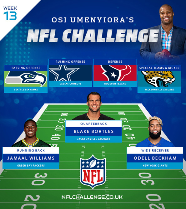 NFL Challenge creative featuring Osi Umenyiora. Earnie creative design.