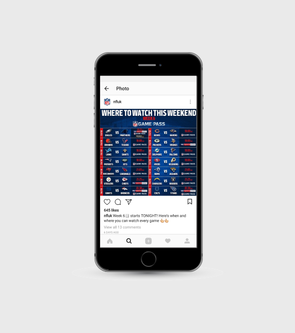 NFL UK Game pass fixtures instagram on phone. Earnie creative design.