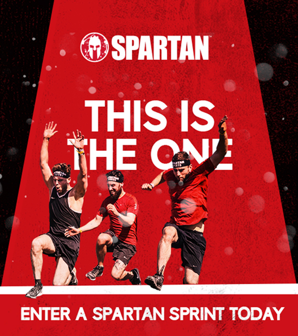 Spartan Sprint creative on Red and black background with This Is The One written in white and 3 people below. Earnie Creative Design.