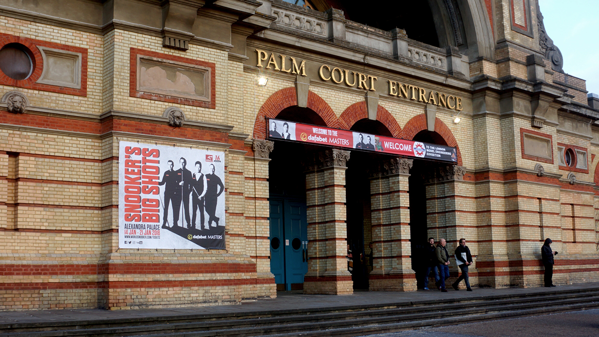 Photo of Alexandra Palace with banners of World Snooker Dafabet Masters creative. Earnie creative design.