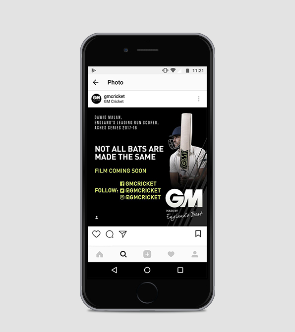 GM- It All Comes Down to Choice with Dawid Malan instagram on phone. Earnie creative design