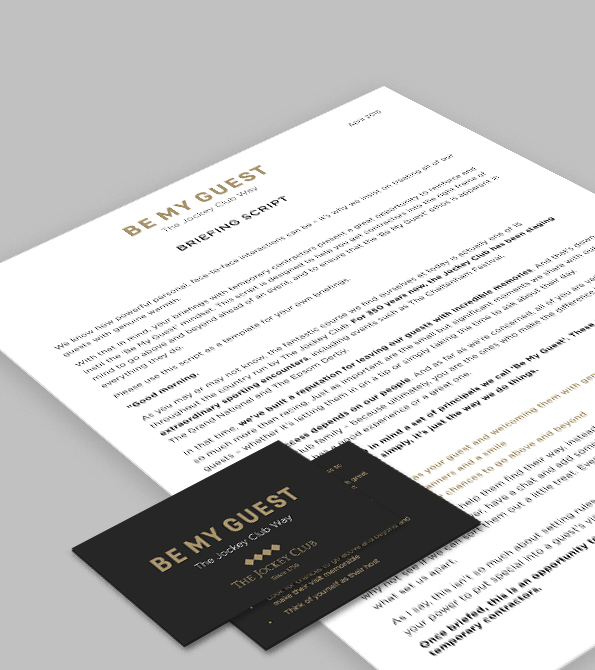 The Jockey Club Be My Guest Cards and Briefing Script Creative. Earnie creative design.
