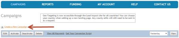 Lead Impact create campaign