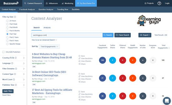BuzzSumo Backlink Tool