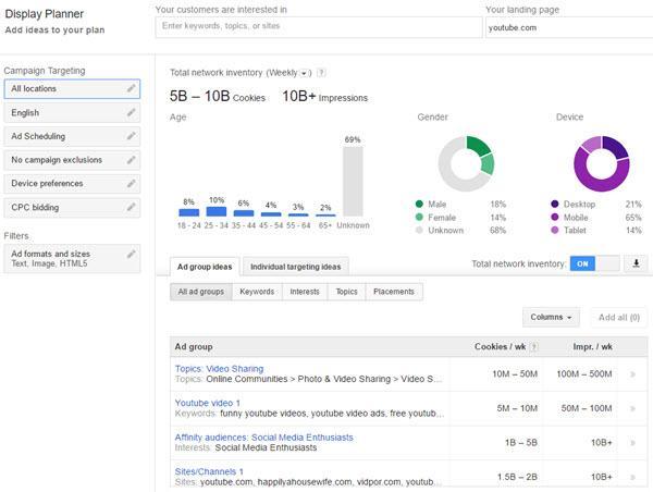 Website Traffic Estimator Tools - Google AdWords Display Planner