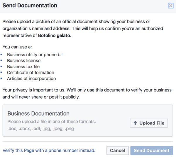 Facebook Page Verification Documents