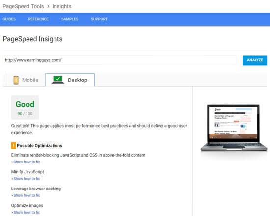 Google PageSpeed website speed test tool