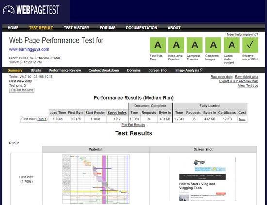 WebPageTest website speed test tools