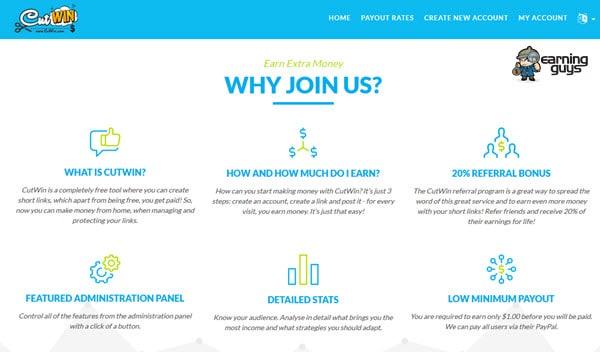 CutWin URL Shortener Site