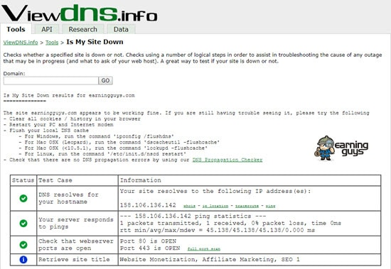 ViewDNS.info Is My Site Down