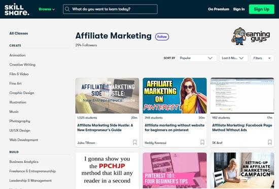 Skillshare Free Affiliate Marketing Courses