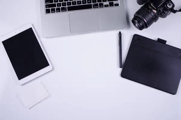 flat laptop ipad photograph camera desk