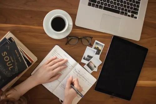laptop writer coffee tablet
