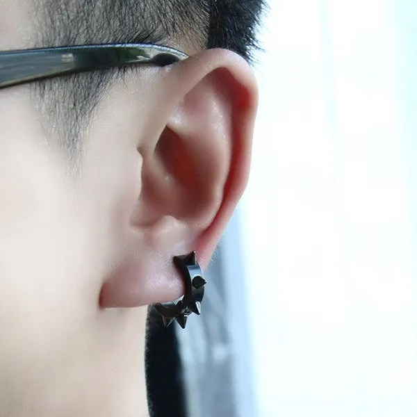 Stainless Steel Black Rivet Spike Men Earrings
