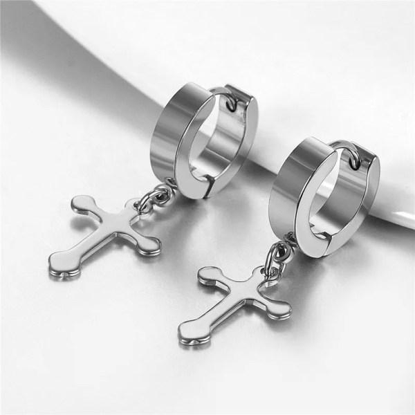 Stainless Steel Cross Drop Hoop Earrings Men Silver