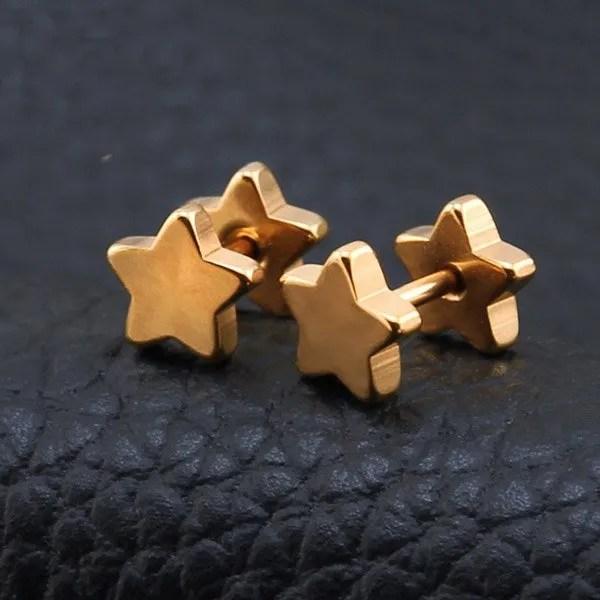 316 Stainless Steel Ear Stud Star Men Earrings 2018 Gold