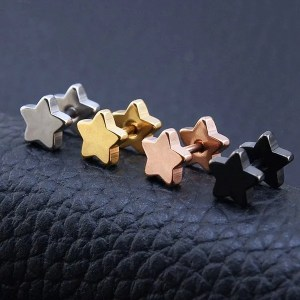 316 Stainless Steel Ear Stud Star Men Earrings 2018