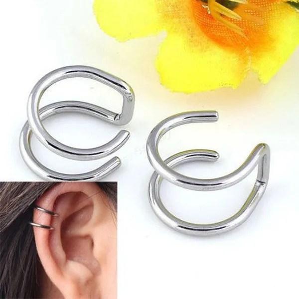 Clip-on Wrap Non Pierced Men Earrings Silver