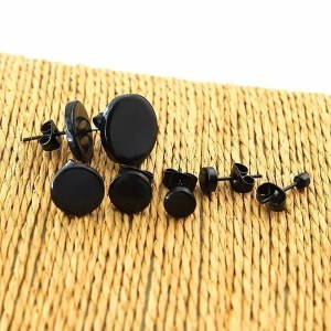 Stainless Steel Black Stud Men Earrings